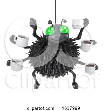 3d Spider Drinks Coffee, On a White Background by Steve Young