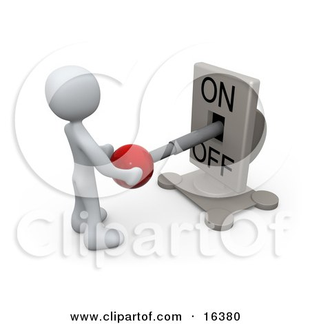 White Person Standing In Front Of A Switch Plate And Holding The Red Knob, Preparing To Turn It On Clipart Illustration Graphic by 3poD