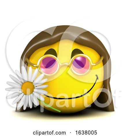 Funny Cartoon 3d Smiley Face Character with Long Hair and a Flower, On a White Background by Steve Young