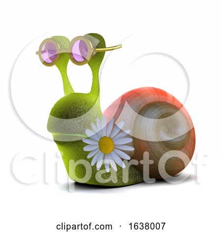 3d Hippy Snail, On a White Background by Steve Young