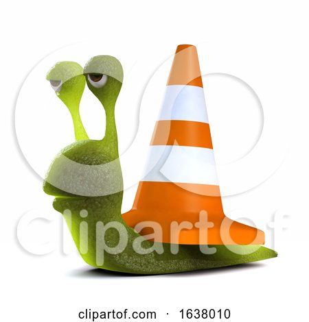 3d Snail Roadworks, On a White Background by Steve Young