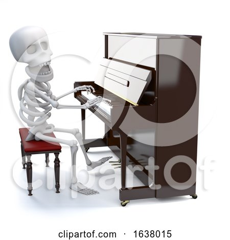 3d Skeleton Playing a Piano, On a White Background by Steve Young