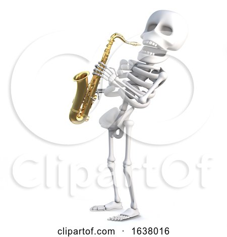 3d Skeleton Plays Jazz on a Saxophone, On a White Background by Steve Young