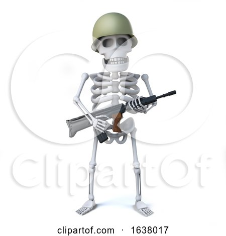 3d Skeleton Soldier, On a White Background by Steve Young