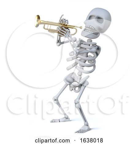 3d Skeleton Playing a Trumpet, On a White Background by Steve Young