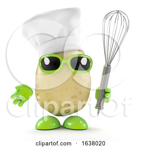 3d Chef Potato with Whisk, On a White Background by Steve Young