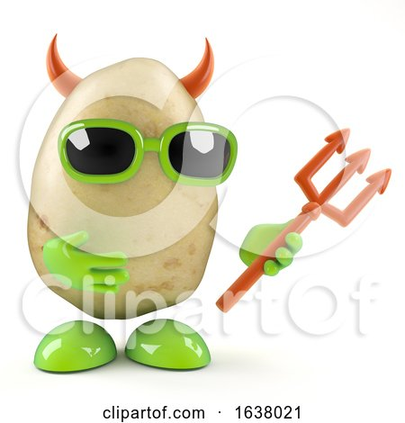 3d Evil Potato, On a White Background by Steve Young