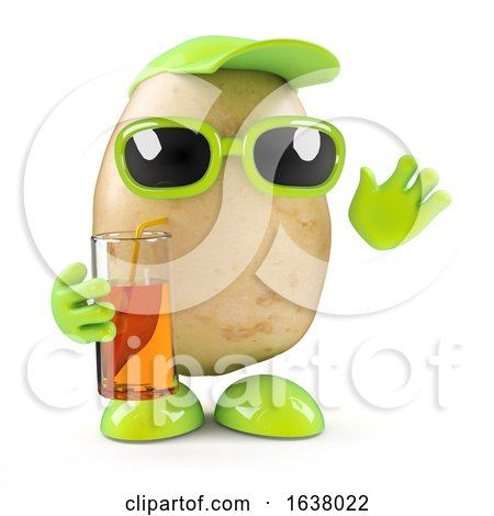3d Potato at a Party, On a White Background by Steve Young