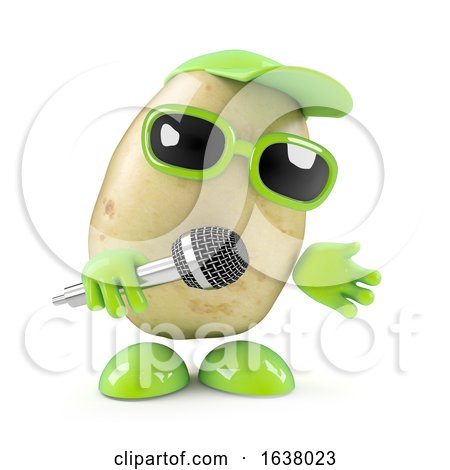 3d Potato Sings the Blues, On a White Background by Steve Young