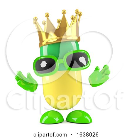 3d Medicine Capsule Wears a Gold Crown, On a White Background by Steve Young