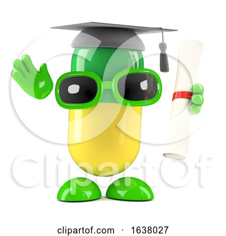 3d Pill Graduates, On a White Background by Steve Young