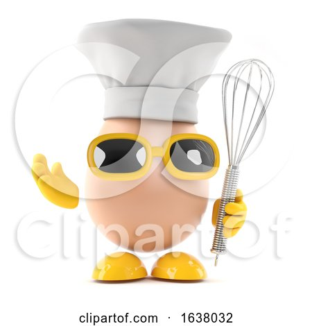 3d Egg and Whisk, On a White Background by Steve Young