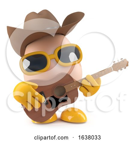 3d Cowboy Egg Plays Acoustic Guitar, On a White Background by Steve Young