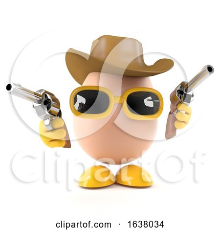 3d Cowboy Egg, On a White Background by Steve Young