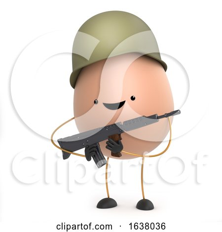3d Cute Toy Egg Dressed As a Soldier, On a White Background by Steve Young