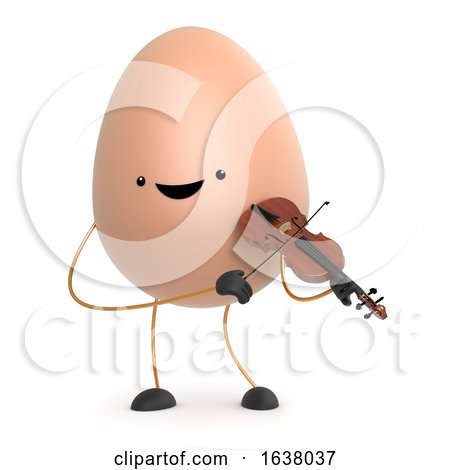 3d Cute Toy Egg Plays a Violin, On a White Background by Steve Young