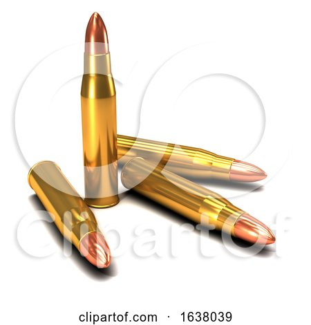 3d Brass Bullets, On a White Background by Steve Young