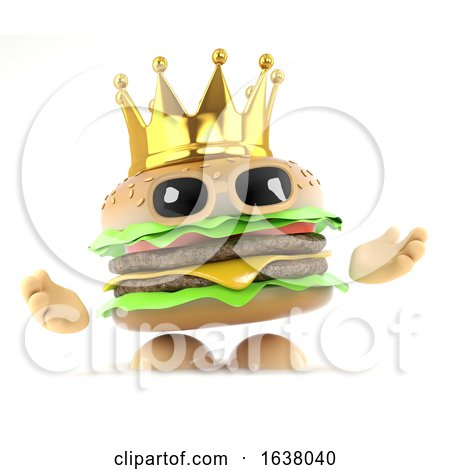 3d King Burger, On a White Background by Steve Young
