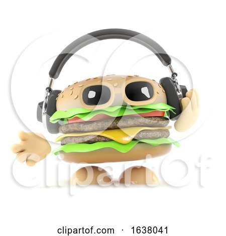 3d Burger Headphones, On a White Background by Steve Young