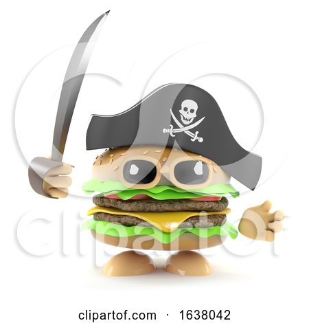 3d Pirate Burger, On a White Background by Steve Young
