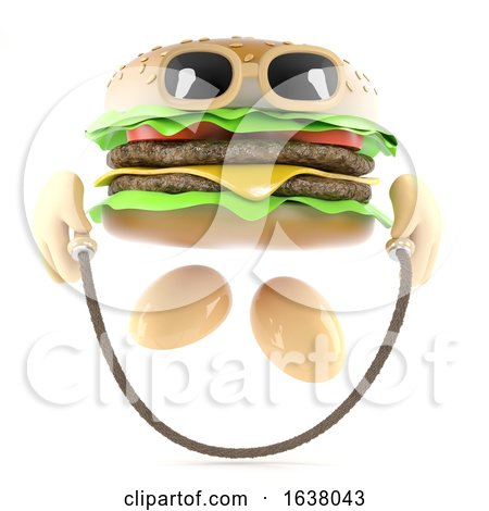 3d Burger Skipping, On a White Background by Steve Young