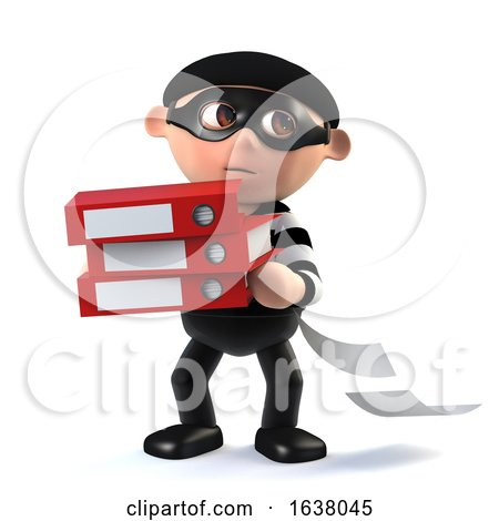 3d Funny Cartoon Burglar Character Steals Data, On a White Background by Steve Young
