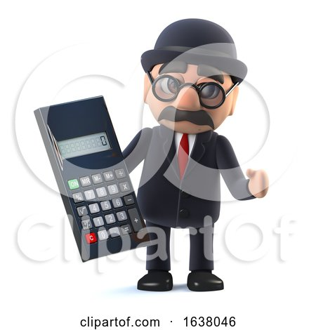 3d Bowler Hatted British Businessman with Calculator, On a White Background by Steve Young