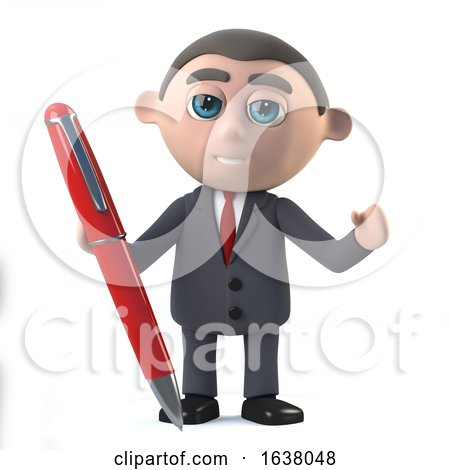 3d Businessman Has a Red Pen, On a White Background by Steve Young