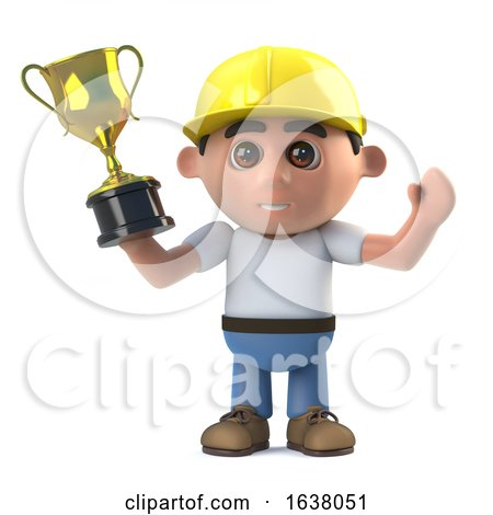 3d Construction Worker Wins a Gold Trophy Award, On a White Background by Steve Young