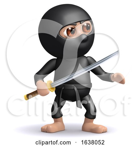 3d Ninja with Katana, On a White Background by Steve Young