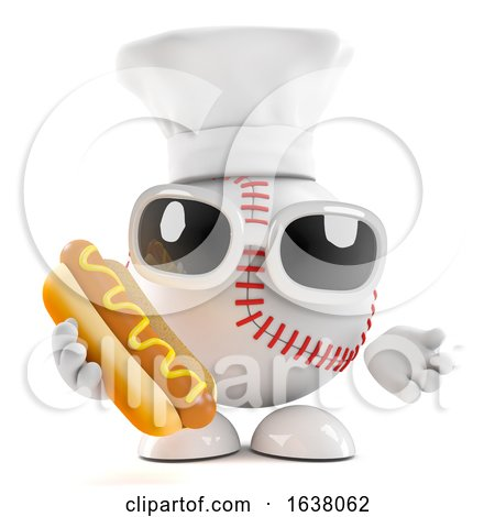 3d Baseball Chef Cooks a Mean Hot Dog, On a White Background by Steve Young