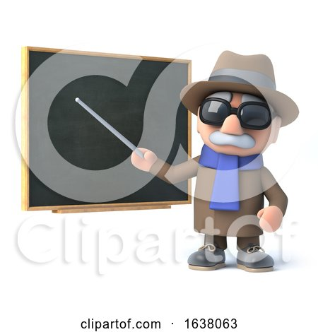 3d Blind Man Points the Chalkboard, On a White Background by Steve Young