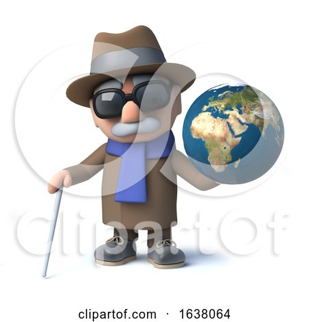 3d Funny Cartoon Old Blind Man Character Has a Globe of the Earth, On a White Background by Steve Young