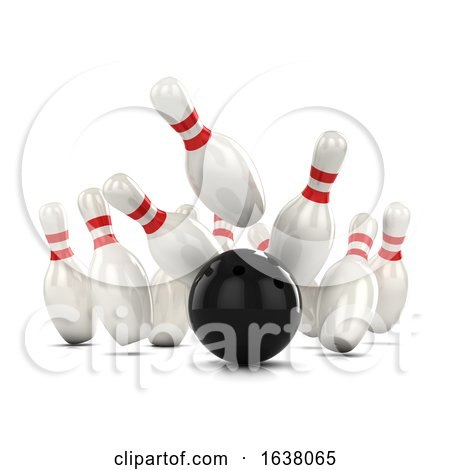 3d Ten Pin Bowling Strike, On a White Background by Steve Young