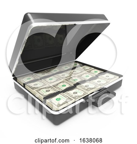 3d Briefcase Full of US Dollars, On a White Background by Steve Young