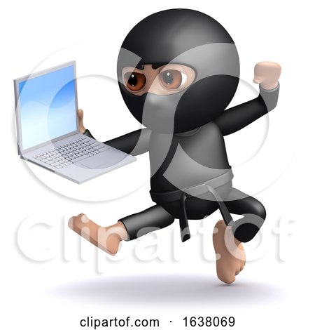 3d Ninja Attacks His Work, On a White Background by Steve Young
