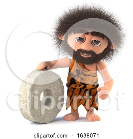 3d Funny Caveman Invents the Wheel, On a White Background by Steve Young