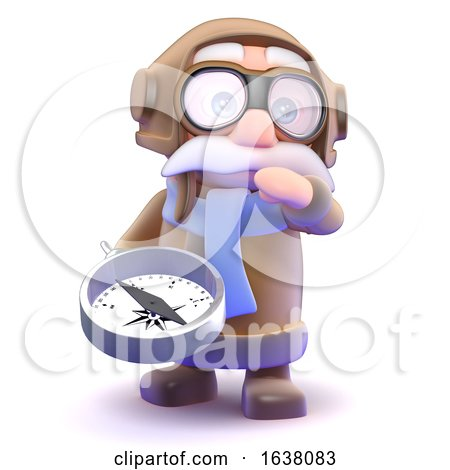 3d Pilot Looks Lost, On a White Background by Steve Young