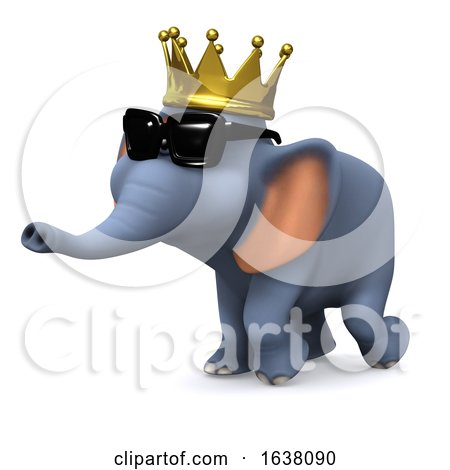 3d King Elephant, On a White Background by Steve Young