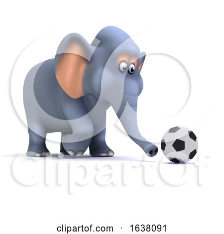 3d Football Elephant, On a White Background by Steve Young