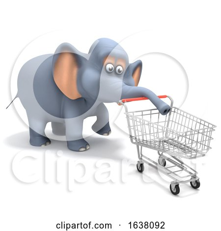 3d Shopper Elephant, On a White Background by Steve Young