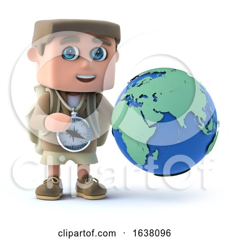 3d Render of a Kid Explorer Holding a Globe, On a White Background by Steve Young