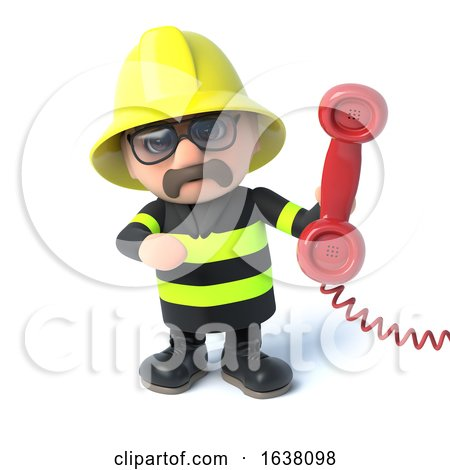 3d Firefighter Answers the Phone, On a White Background by Steve Young