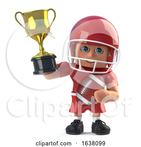 3d American Footballer Holds up a Gold Trophy, On a White Background by Steve Young