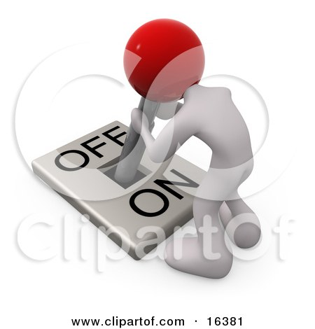 White Person With A Red Head Attached To An On/off Switch Lever, Crouching Over And Struggling To Turn The Switch Off Clipart Illustration Graphic by 3poD