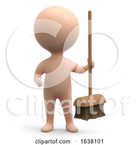 3d Human Cleaner, On a White Background by Steve Young