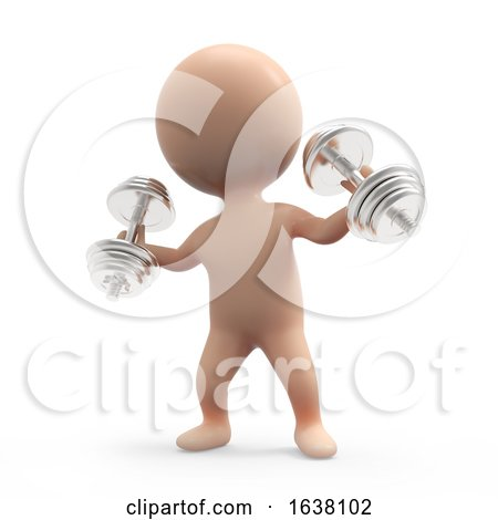 3d Little Weightlifter, On a White Background by Steve Young
