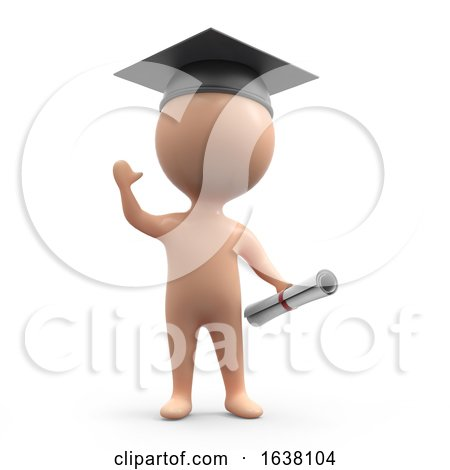 3d Graduate Human, On a White Background by Steve Young