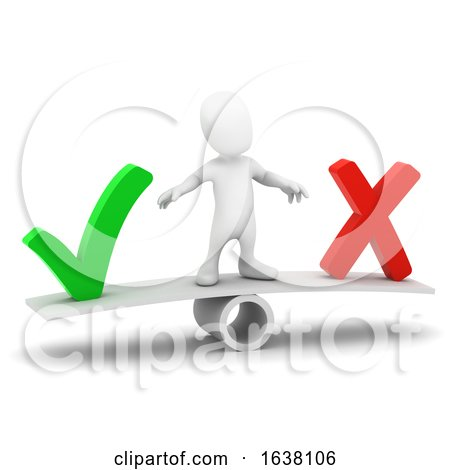 3d Little Person Tick or Cross, On a White Background by Steve Young