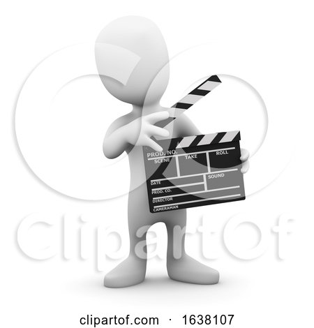 3d Little Man Makes a Movie, On a White Background by Steve Young